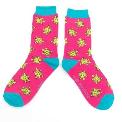 Miss Sparrow Socks Bamboo Cute Turtles hot pink