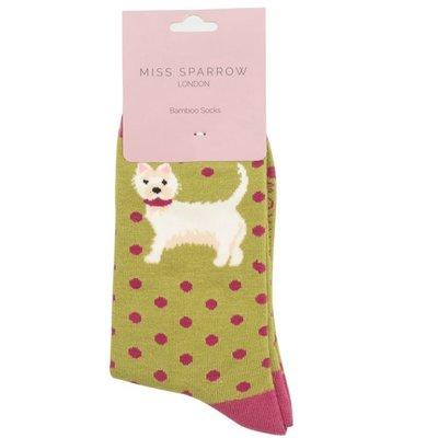 Miss Sparrow Socken Bamboo Dogs moss green