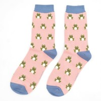 Miss Sparrow Socks Bamboo Frogs dusky pink
