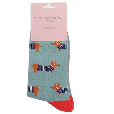 Miss Sparrow Socks Bamboo Parisian Pups faded denim