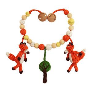 Sindibaba Kinderwagenkette Fuchs orange mit Rassel