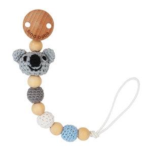 Sindibaba Schnullerkette mit Koala grey (Bio-Baumwolle)