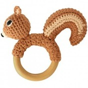Sindibaba Rattle Squirrel on wooden ring brown