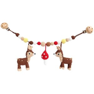 Sindibaba Stroller chain Deer brown with rattle