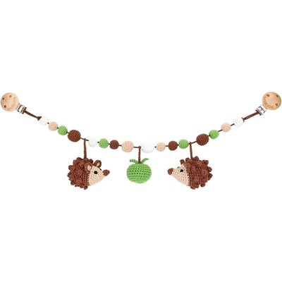 Sindibaba Stroller chain hedgehog brown with rattle