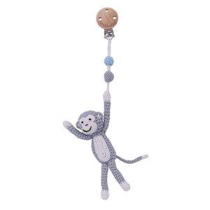 Sindibaba Pram clip with rattle monkey grey