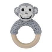 Sindibaba Rattle Monkey on wooden ring grey