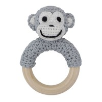 Sindibaba Rattle Monkey on wooden ring grey
