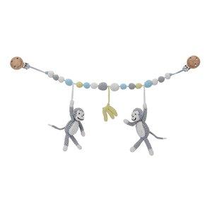 Sindibaba Kinderwagenkette Affchen pastellgrau mit Rassel