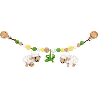 Sindibaba Stroller chain Sheep white with rattle