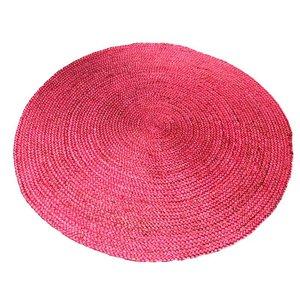 Zacht roze jute rond vloerkleed