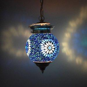 Oosterse mozaiek blauwe hanglamp