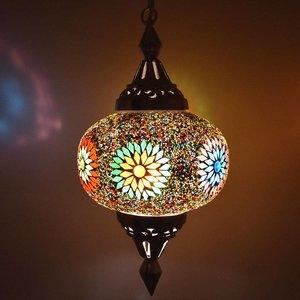 Hanglamp mozaïek pompoen multi color kraal vrolijke lamp