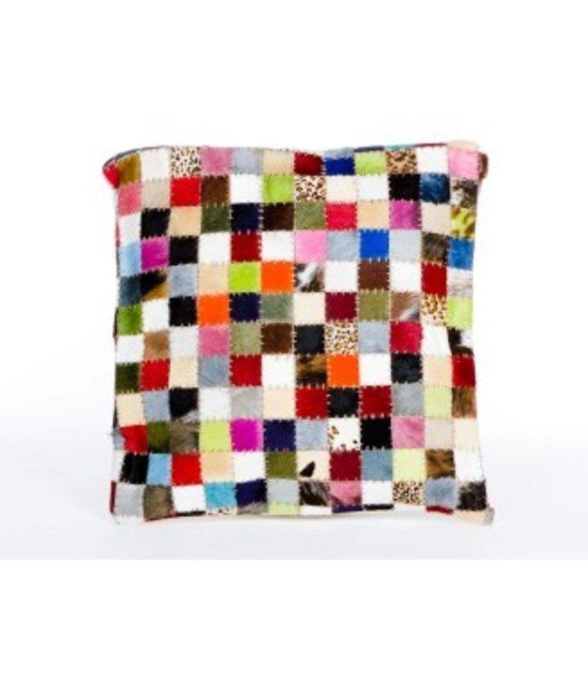 Kussen multi colour mini blokjes large leer Merel in