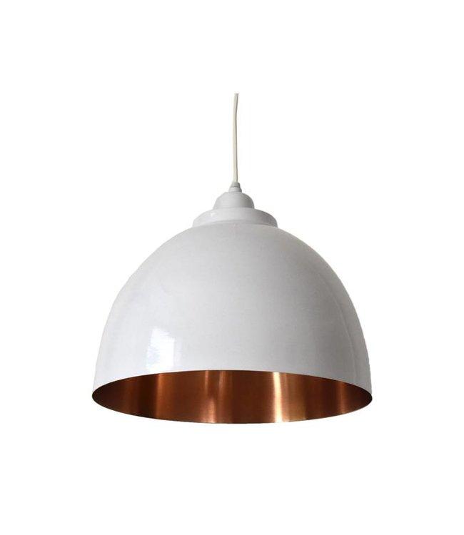 Uitzonderlijk Witte open hanglamp met koperen binnenkant - Merel in Wonderland GV77