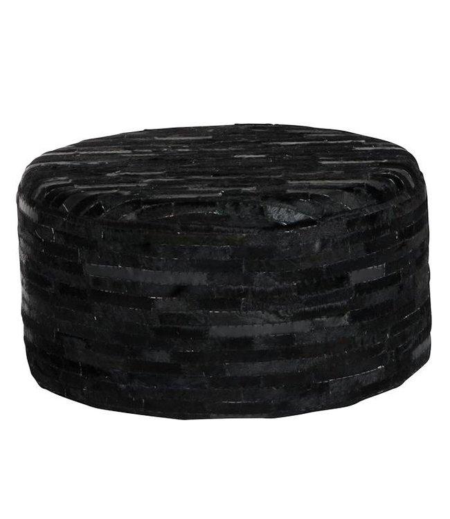 Wonderbaar Leren poef zwart zilver reepjes leer - Merel in Wonderland XW-83