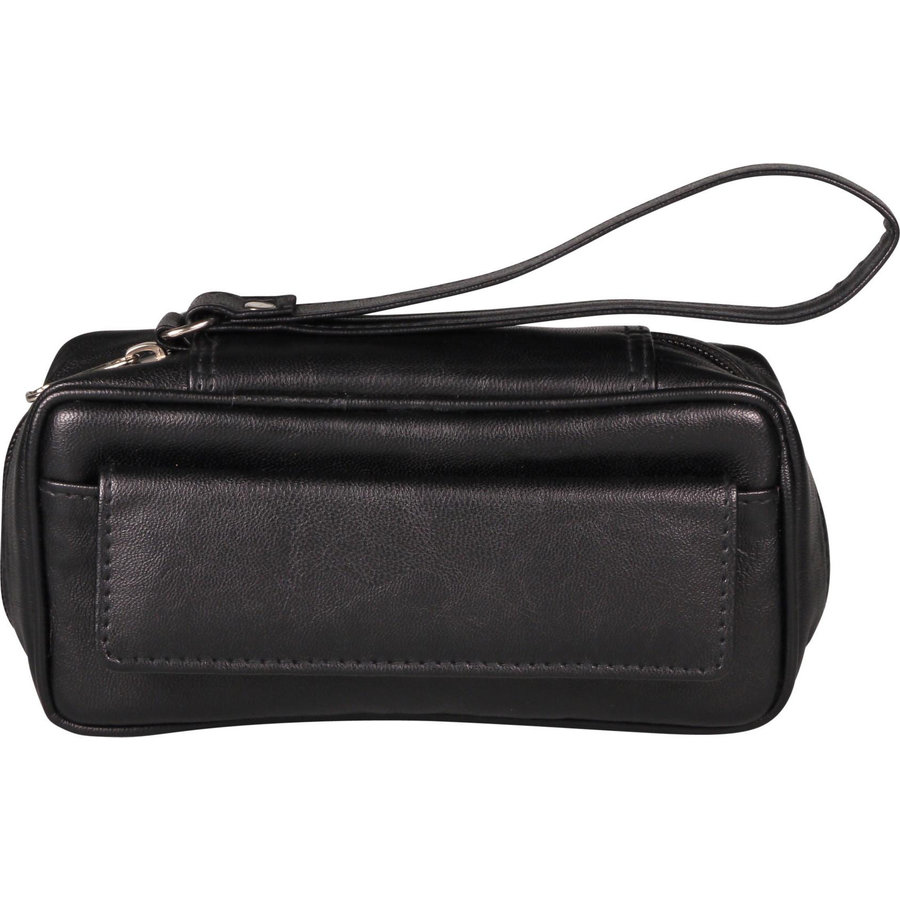 Leather-Look Pipe Pouch for 2 pipes Black
