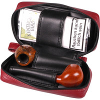 Leather-Look Pipe Pouch for 2 pipes Red