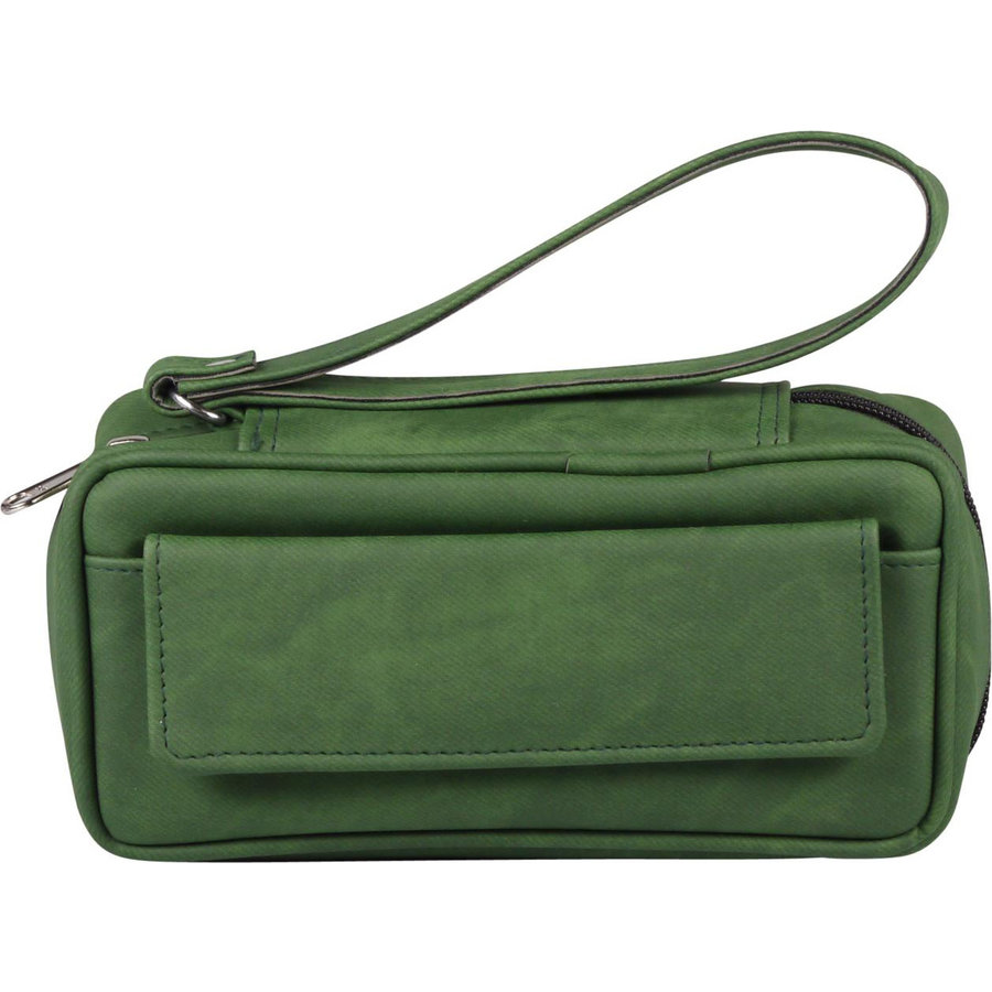 Leather-Look Pipe Pouch for 2 pipes Green