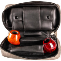 Leather-Look Pipe Pouch for 2 pipes Grey