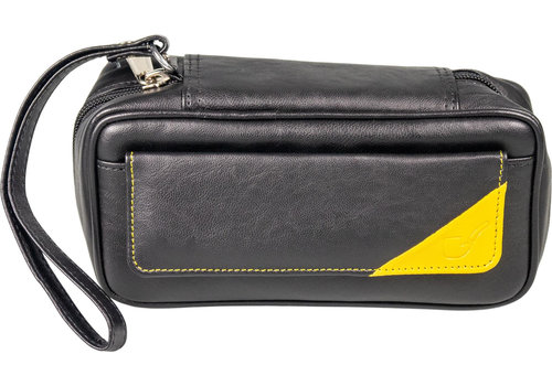 Leather-Look Pipe Pouch for 2 pipes Black/Yellow