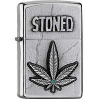 Aansteker Zippo Stoned Emblem Leaf