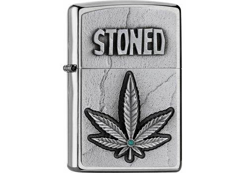 Lighter Zippo Stoned Emblem Leaf