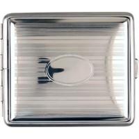 Cigarette Case Metal Chrome Stripes