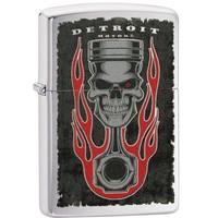 Aansteker Zippo Detroit Piston Skull Flame