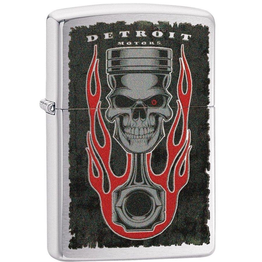 Lighter Zippo Detroit Piston Skull Flame