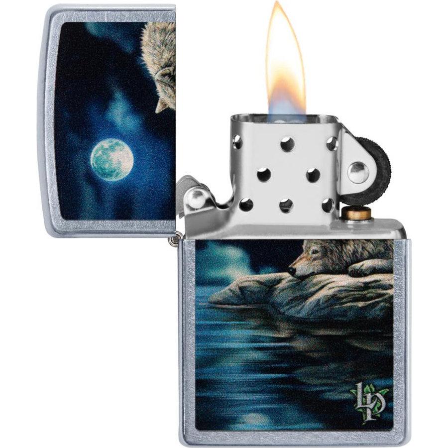 Lighter Zippo Lisa Parker Wolf Water Moon
