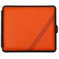 Cigarette Case Nappa Leather Orange Black Stripe