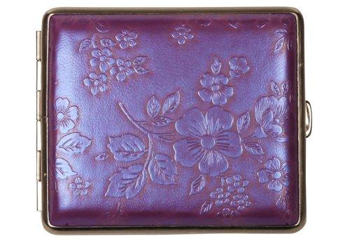 Cigarette Case Nappa Leather Purple Flowers