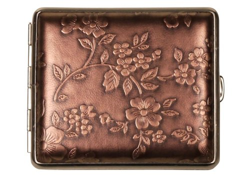 Cigarette Case Nappa Leather Bronze Flowers