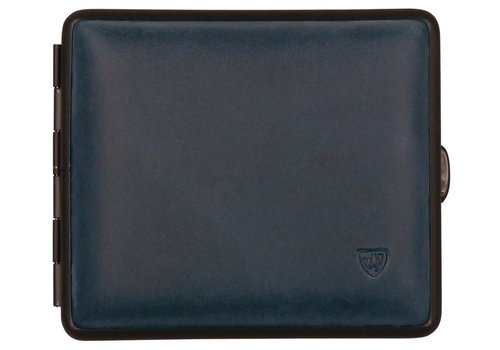 Cigarette Case Velours Leather Blue