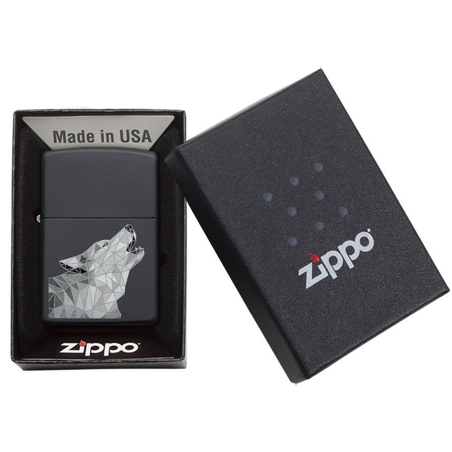 Lighter Zippo Polygonal Wolf Design