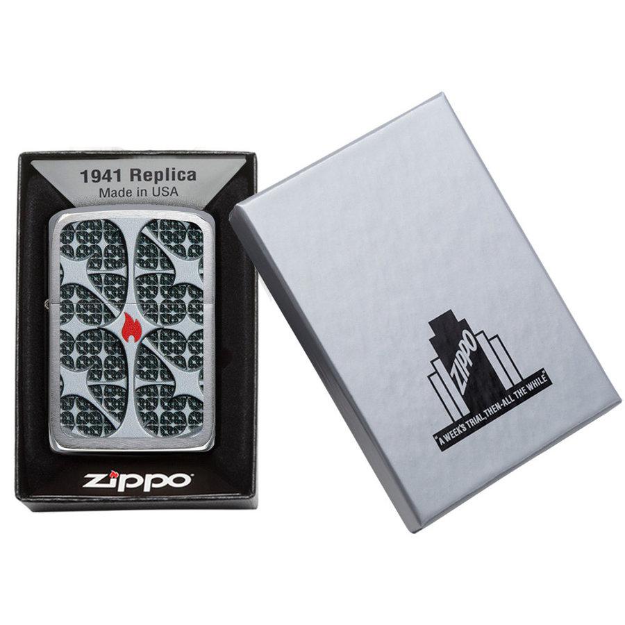 Aansteker Zippo Silver Texture Flame