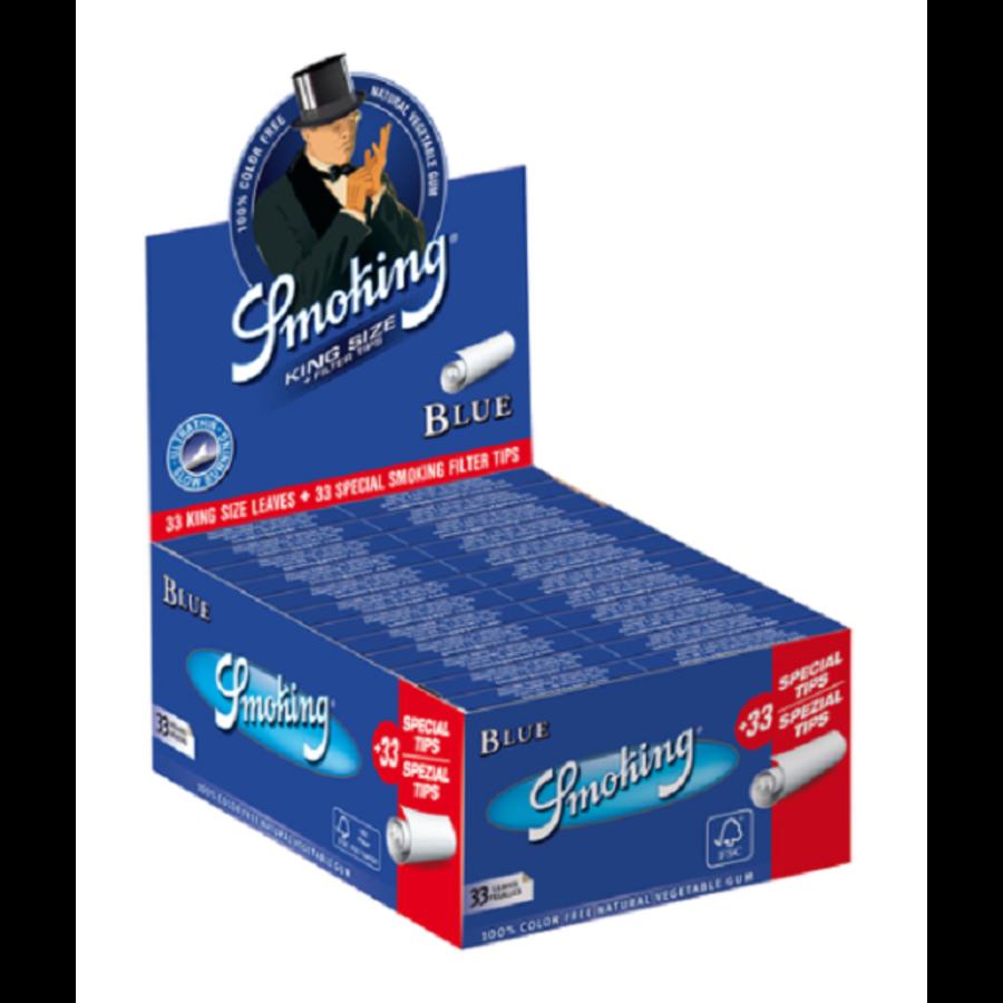 Smoking Kingsize Blue Rolling Paper & Tips Box