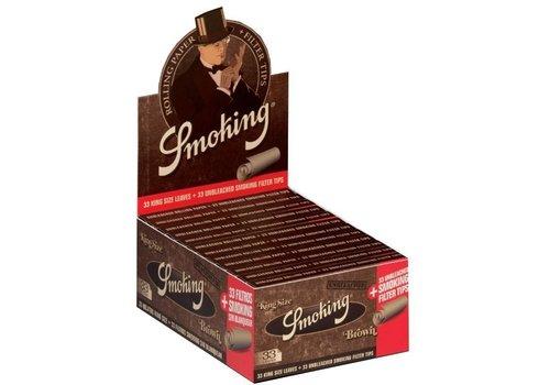 Smoking Kingsize Brown Rolling Paper & Tips Box
