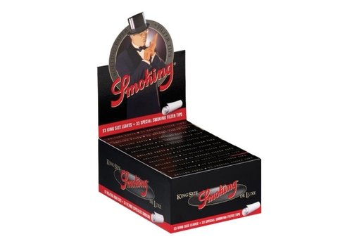 Smoking Kingsize Deluxe Black Rolling Paper & Tips Box