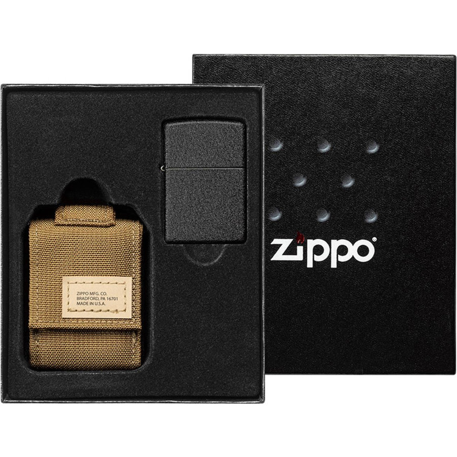 Gift Set Zippo Lighter Black Crackle with Nylon Pouch Sand