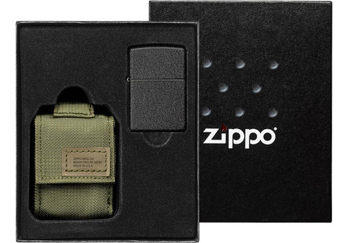 Gift Set Zippo Lighter Black Crackle with Nylon Pouch Green