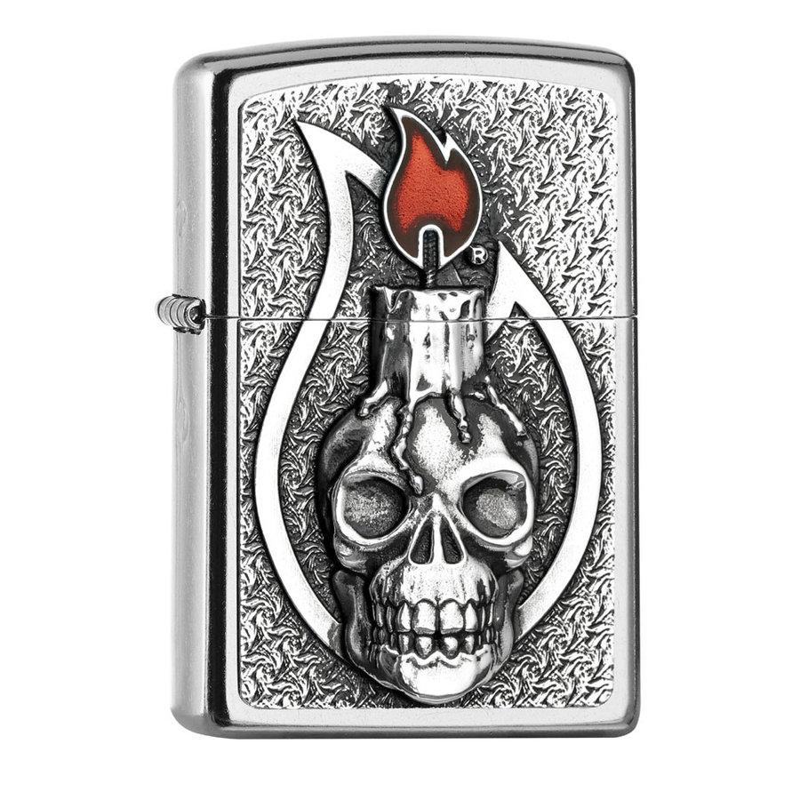 Aansteker Zippo Candle Skull Emblem
