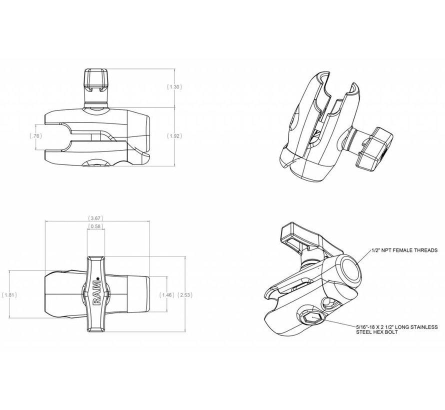 """Single Socket Arm & 1/2"""" NPT Female Thread"""