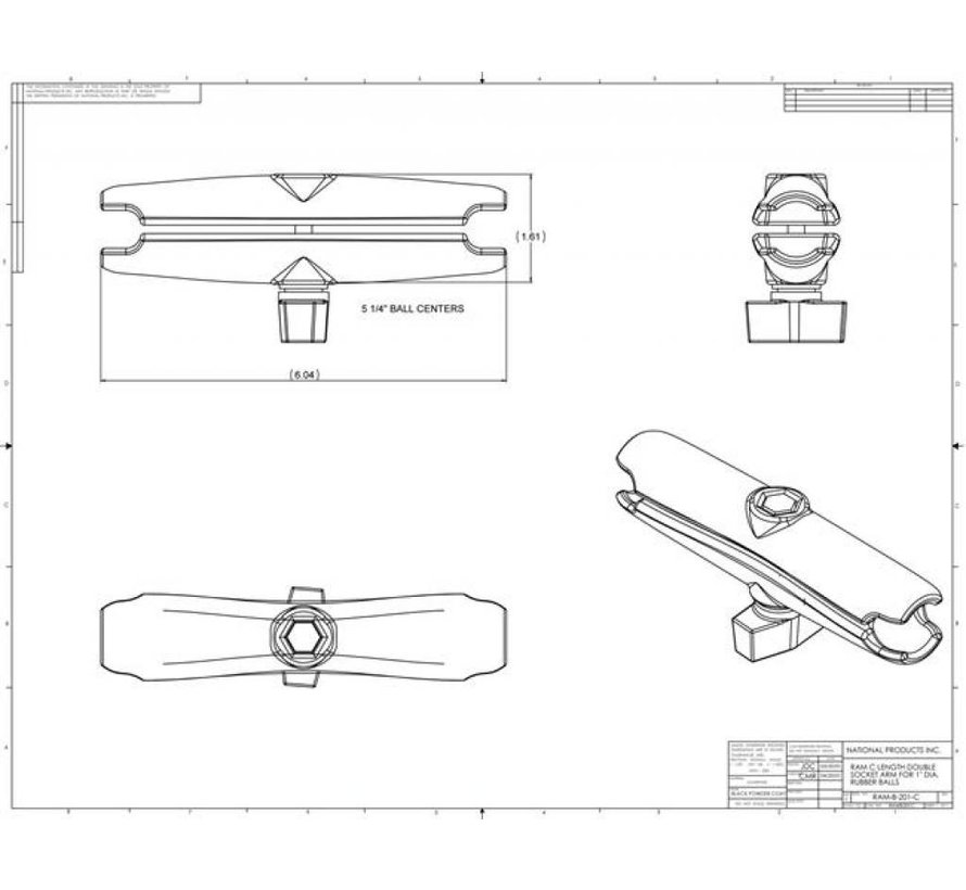 EOW RAM-B-201U-C montage klemarm lang (lichte krasjes)