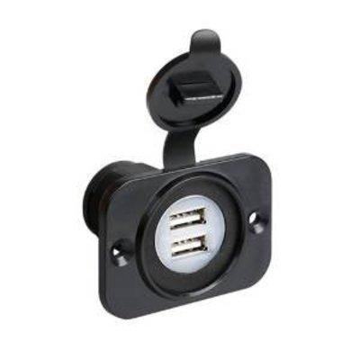Dubbele USB-lader 12-24V inbouw