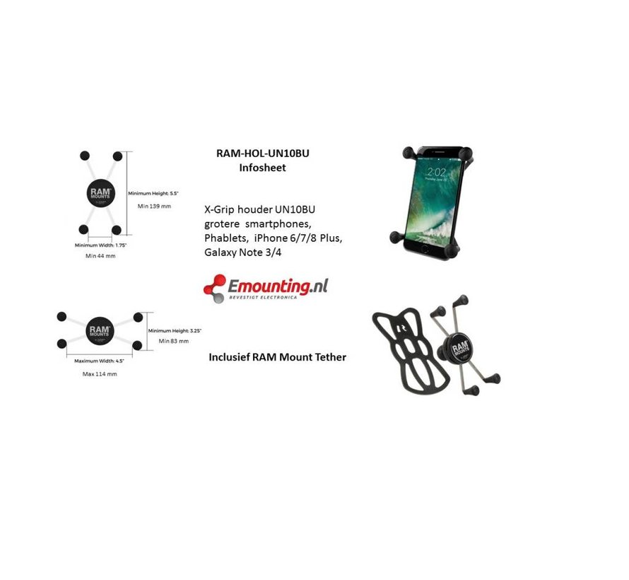 Tough-Claw Grote Smartphone stangmontageset Large