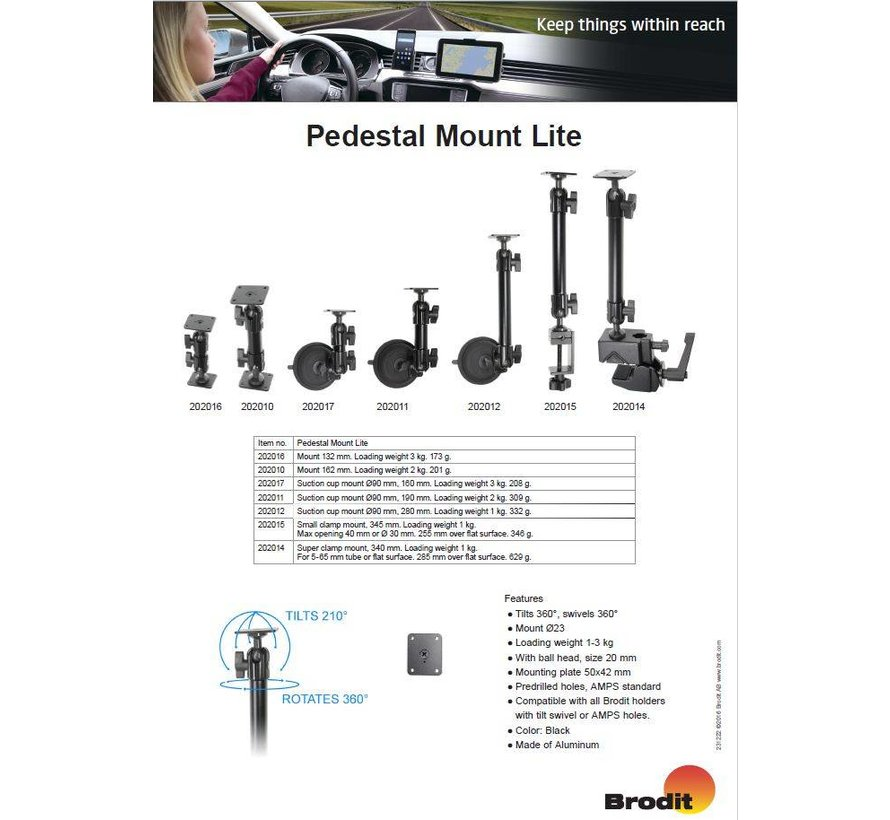 Pedestal Mount Lite Small clamp mount, 345mm.