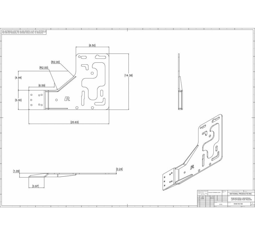 No-Drill™ Universal Vehicle Base for Heavy Duty Trucks