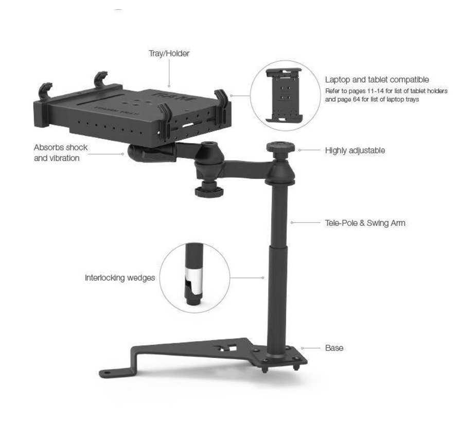 No-Drill™ Laptop Mount for '15-21 Ford F-150, '17-21 F-250 + More